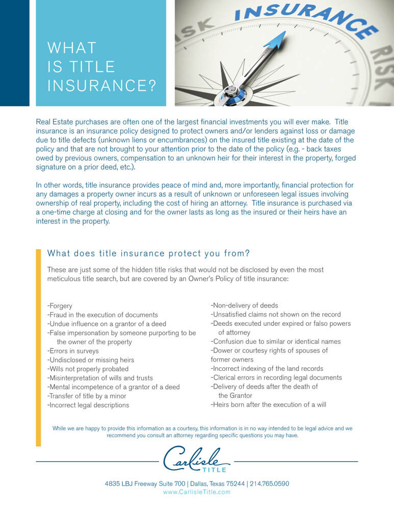 What is Title Insurance? | Carlisle Title